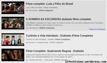 Tela do youtube